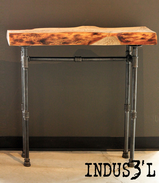 Small wood and pipe console table rustic console for Rustic pipe table