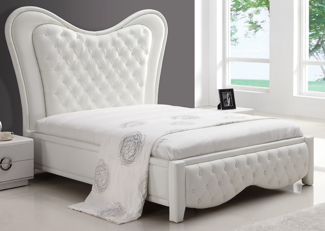 Kenza White Upholstered Bed Modern Beds New York By