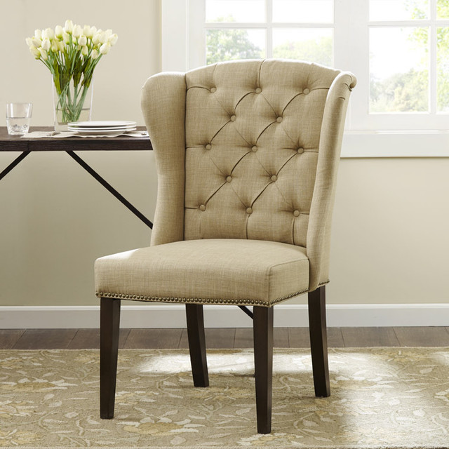 Margo Linen Fabric Tufted Wing Back Dining Chair Contemporary Dining Chai