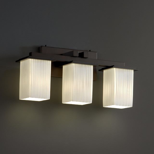 Montana Three Light Square Bath Bar - Modern - Bathroom Vanity Lighting - by Lightology