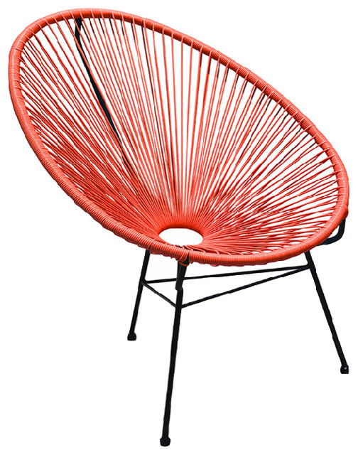 Acapulco Outdoor Patio Chair Atomic Tangerine Contemporary Outdoor Loung