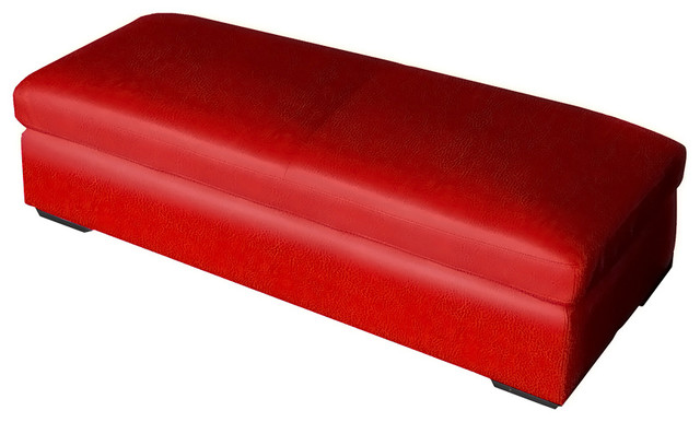 Home Living Room Storage Ottoman Coffee Table Red Bonded Leather Contemporary Footstools And