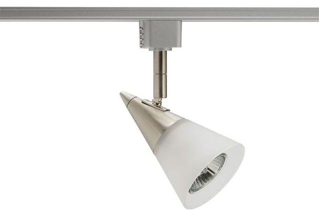 Juno Track Lighting Glass Cone GU10 Satin Chrome Track Lighting R716SC Contem