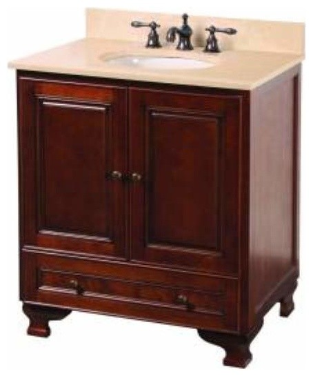 Foremost Hartford 30 Inch Vanity Combo In Walnut Finish Traditional Bathroom Vanities And