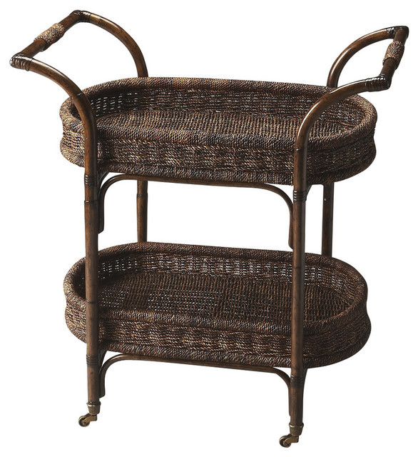 Butler Fiji Rattan Serving Cart Designer S Edge Tropical Bar Carts