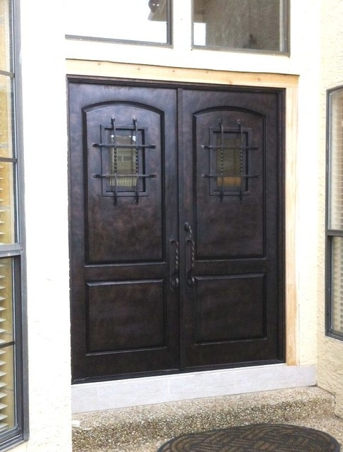 Double Rustic Windows : Wrought iron panel speakeasy double door rustic
