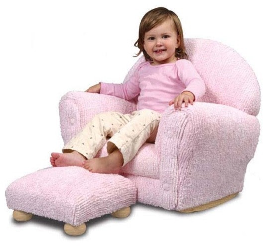 Gina pink chenille rocker with ottoman by kidkraft for Childrens rocking chair with footstool