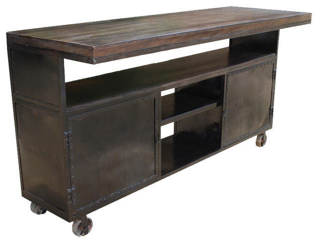 Kitchen Island Industrial Mango amp Iron Rolling Storage  : industrial kitchen islands and kitchen carts from www.houzz.com size 640 x 488 jpeg 49kB