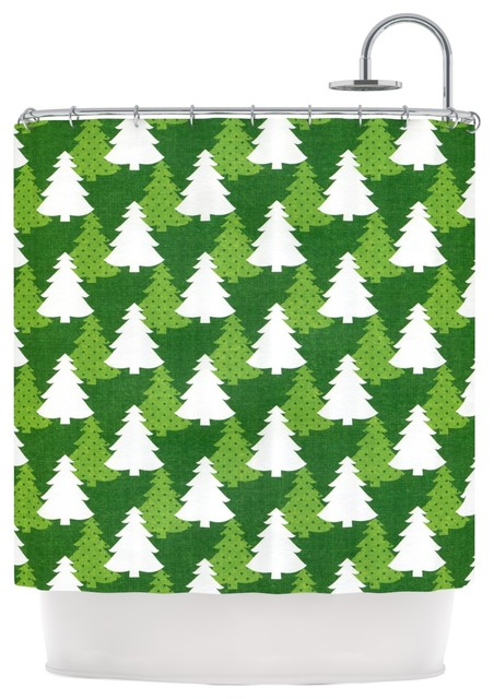 Heidi Jennings Pine Forest Green White Shower Curtain Contemporary Shower Curtains By