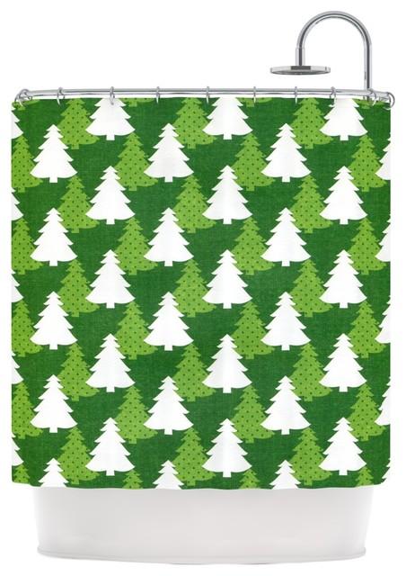 Heidi jennings pine forest green white shower curtain - Forest green shower curtain ...