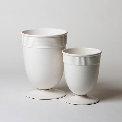 Global Views Vase: Global Views Small Banded Ceramic Vase In White BB