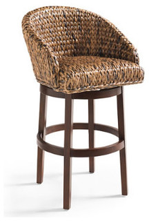 Milo Swivel Seagrass Stool Grandin Road Traditional