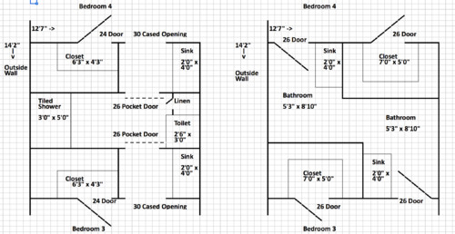 Suggestions eliminating jack and jill bath in new for Jack and jill bathroom floor plans