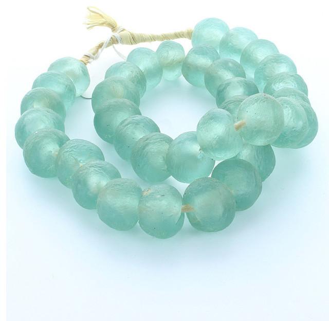 small aqua sea glass beads transitional home decor strand of sea glass beads coastal and beach home decor