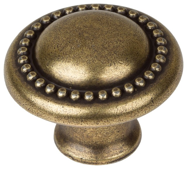 "GlideRite Hardware 1-1/4"" Round Beaded Cabinet Knob, Antique Brass - Transitional - Cabinet And ..."