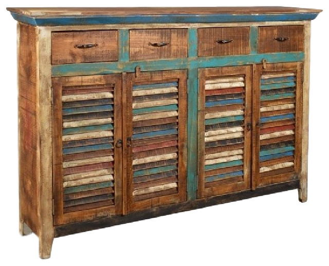 Distressed Reclaimed Wood 4-Drawer 4-Door Sideboard - Beach Style - Buffets And Sideboards - by ...