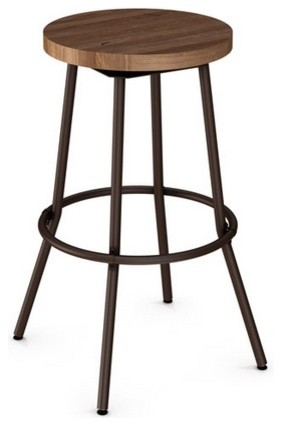 Backless Swivel Stool With Wood Seat Counter Seat Height