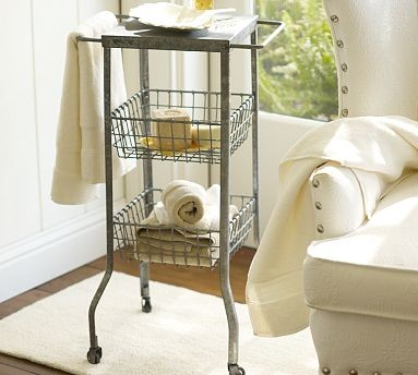 galvanized metal floor storage pottery barn baskets. Black Bedroom Furniture Sets. Home Design Ideas