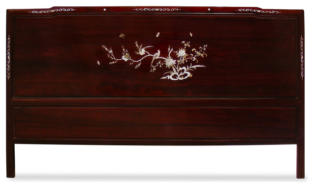 Rosewood Cal King Size Mother Of Pearl Inlay Headboard
