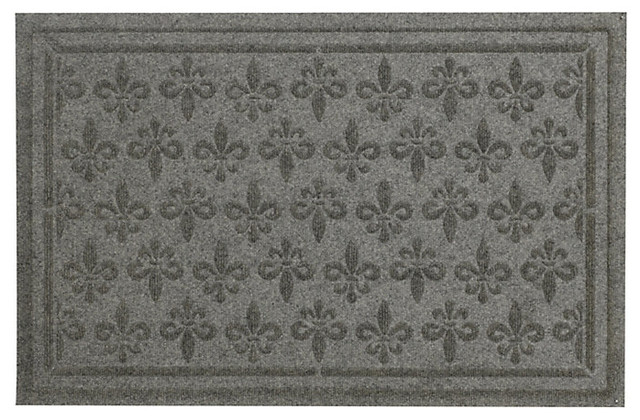 Fleur de lis doormat non personalized gray contemporary doormats by ballard designs - Fleur de lis doormat ...