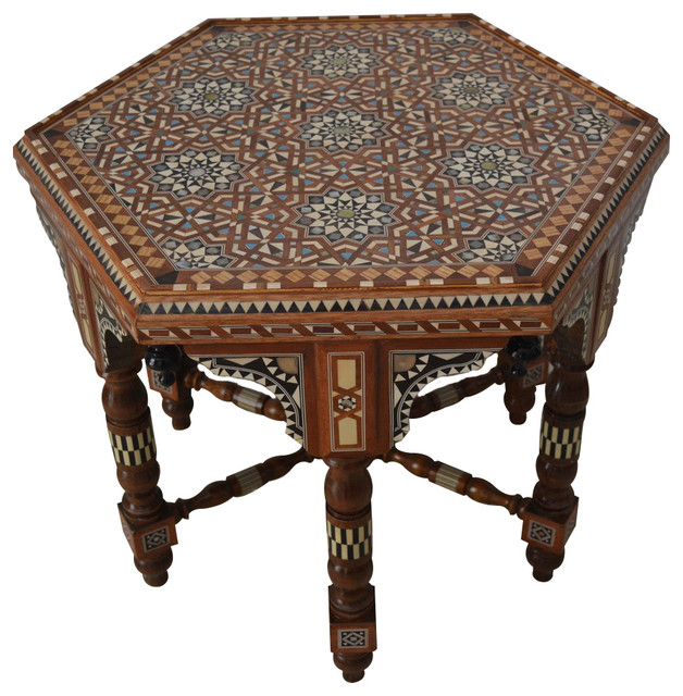 Arabian Mother Of Pearl Inlaid Coffee Side Table Traditional Coffee Tables By E Kenoz