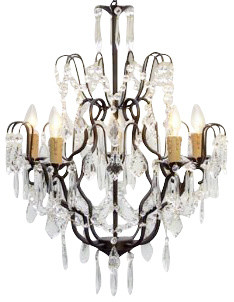 Swag Plug In Wrought Iron Crystal Chandelier Traditional