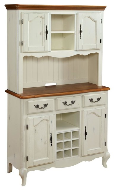 Oak and Rubbed White Buffet and Hutch - China Cabinets And Hutches - by ShopLadder
