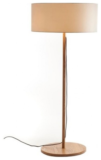 classic wood floor lamp with linen drum shade modern floor lamps raleigh by parrotuncle. Black Bedroom Furniture Sets. Home Design Ideas