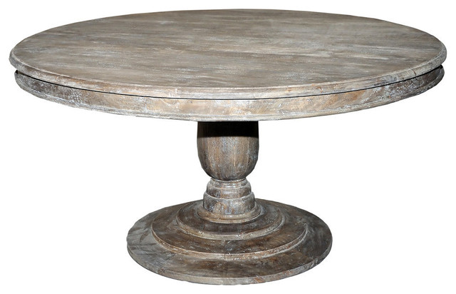 Jackie Pedestal Dining Table 5 Round Rustic Mango Gray  : dining tables from www.houzz.com size 640 x 412 jpeg 54kB