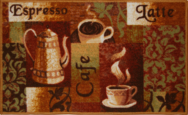 Living classics espresso latte cafe coffee kitchen rug for Traditional kitchen rugs