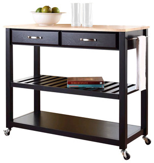 Crosley Kitchen Cart Island Natural Wood Top in Black - Transitional - Kitchen Islands And ...