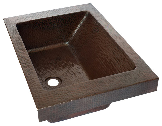 Rectangular raised profile bathroom copper sink with apron for Rectangular copper bathroom sink