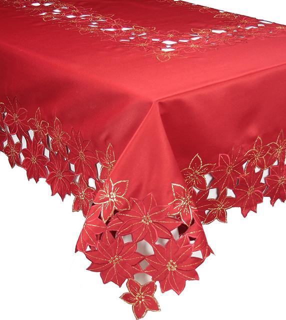 Festive poinsettia embroidered cutwork christmas for 120 table runner christmas