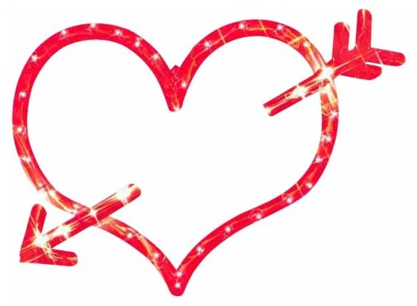 """18"""" Lighted Red Valentine's Day Heart Bow & Arrow Window Silhouette Decoration - Traditional ..."""