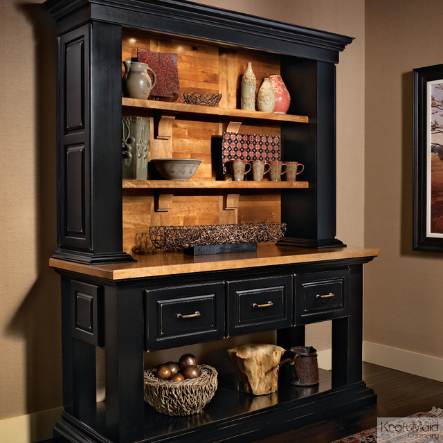 Kraftmaid hutch in onyx rustic kitchen cabinetry for Black onyx kitchen cabinets