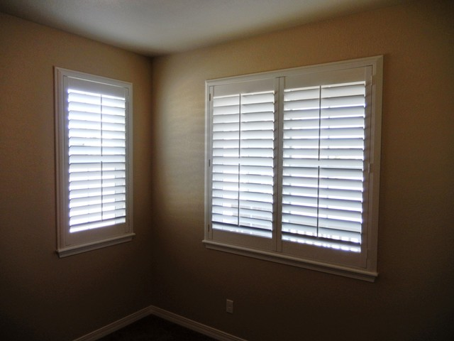 Hunter Douglas Palm Beach Shutters And Norman Essentials Faux Wood Blinds Transitional