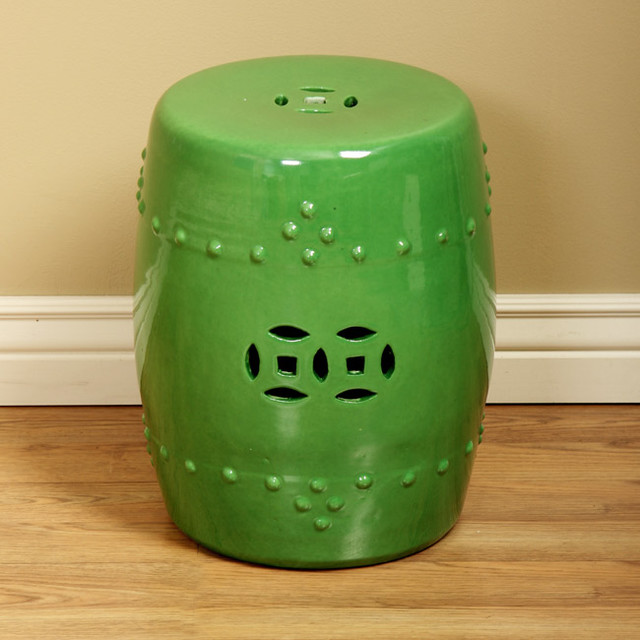 Spring Green Porcelain Stool Asian Side Tables And End