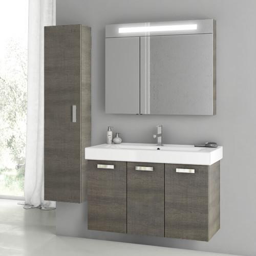 40 Inch Grey Oak Bathroom Vanity Set Contemporary Bathroom Vanities And Sink Consoles By