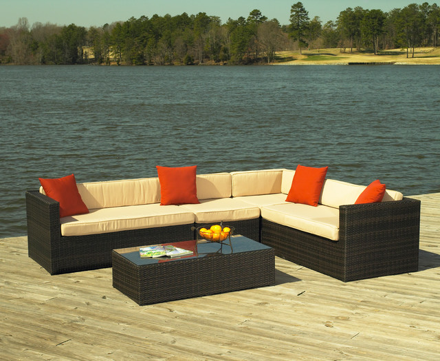 South Hampton Outdoor Wicker Sectional Modern Furniture New York By Wicker Paradise