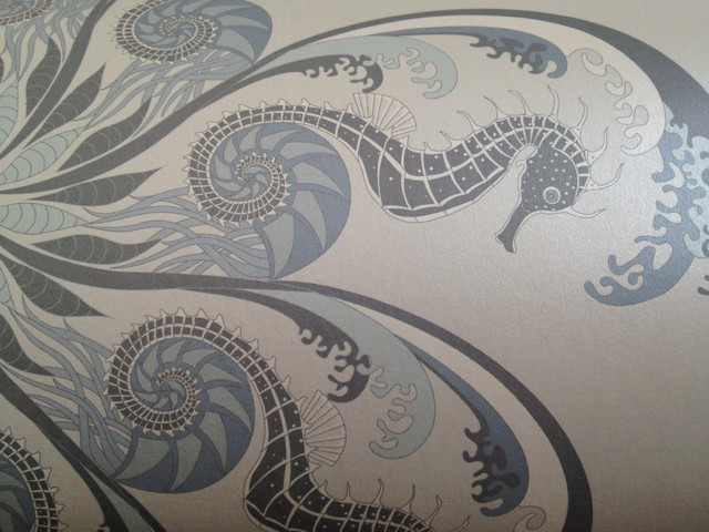 seahorse blue wallpaper detail bord de mer papier peint toronto par judit gueth. Black Bedroom Furniture Sets. Home Design Ideas