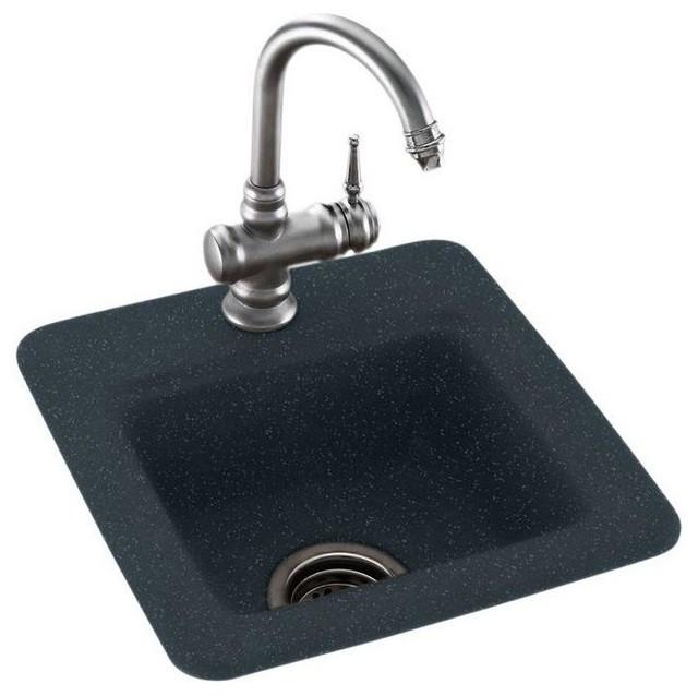 Dual Mount Composite 1 Hole Bar Sink Black Galaxy 15x15x6 Contemporary Bar Sinks By