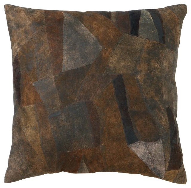 Decorative Leather Pillow : Decorative Attractive Real Leather Pillow with Creative Tough Stitch - Modern - Decorative ...