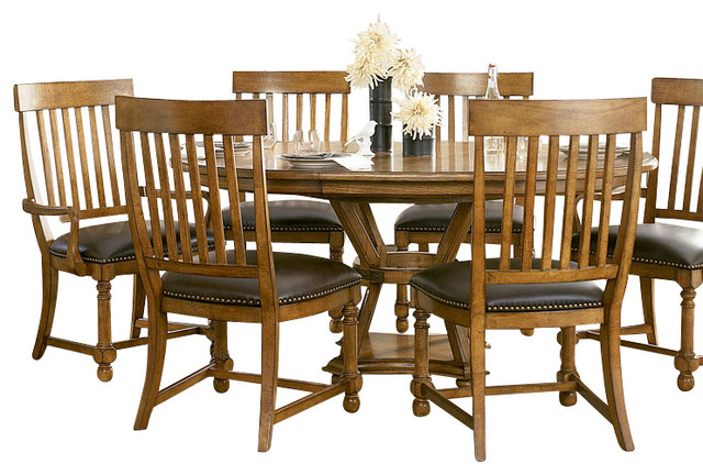 home 8 piece artisan 39 s round dining room set traditional dining sets