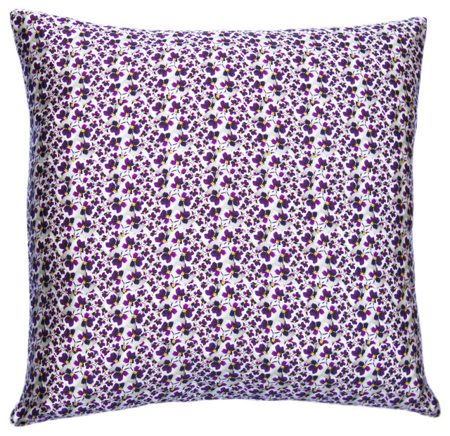 Eclectic Decorative Pillows : Pansy Dance Silk Cushion - Eclectic - Decorative Pillows - london - by INSPACES