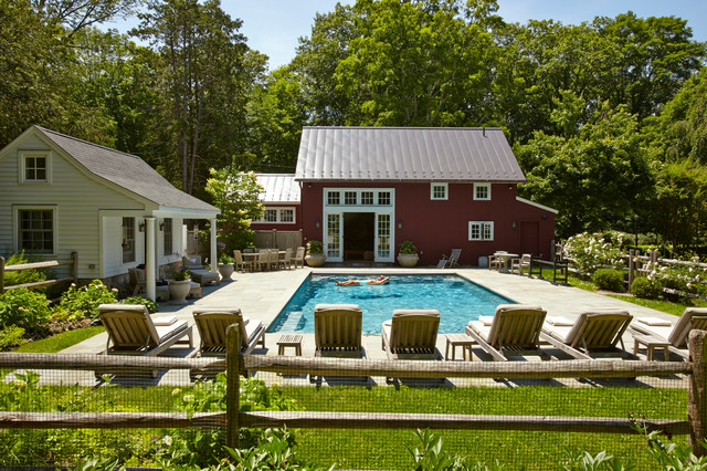 Connecticut barn and pool house farmhouse pool other for Pool house with bathroom cost