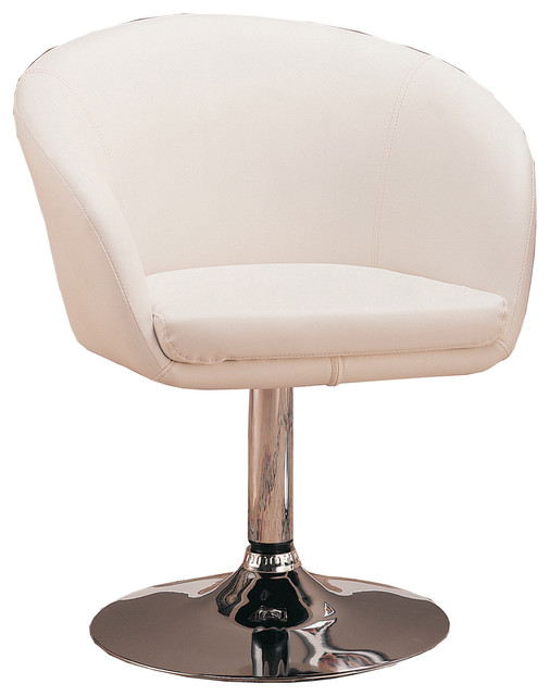 Faux Leather White Swivel Chair Contemporary Armchairs
