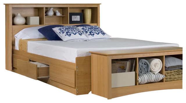 Prepac Maple Sonoma Queen Bookcase Platform Storage Bed Transitional Platform Beds By Cymax