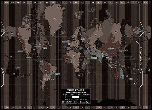 Time zones dark wall mural contemporary wall for Decor zone bedroom