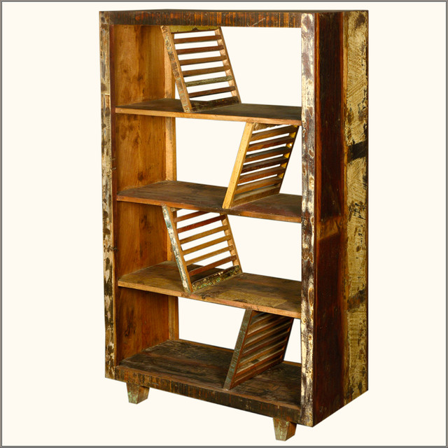 Rustic Washboards Reclaimed Wood 4 Shelf Open Back