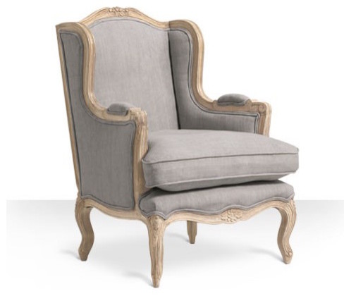 French Armchair Style Armelle Chair In Putty Grey